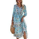 Vestido de playa de estilo bohemio para mujer, estampado floral, cuello en V, media manga Swing Midi Sun Dress