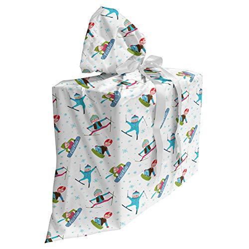 ABAKUHAUS Winter Cadeautas voor Baby Shower Feestje, Snowboard en Ski Sport, Herbruikbare Stoffen Tas met 3 Linten, 70 cm x 80 cm, Veelkleurig