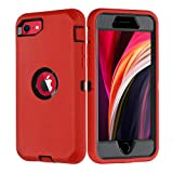 GreatCase iPhone SE 2020 Case Shockproof Heavy Duty Built-in Screen Protector Durable 3 in 1 Cover Dropproof Scratch-Resistant Protective Cases for iPhone SE (2nd)/8/7 4.7 inch Red/Black