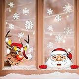 Yuson Girl 42 Stk Schneeflocken Fensterbild mit Weihnachtsmann Elk Abnehmbare Weihnachten Aufkleber Fenster Weihnachten Deko Wandtattoo Weihnachten Statisch Haftende PVC Aufkleber - 6
