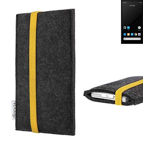 flat.design vegane Handy Tasche Coimbra für Carbon 1 MKII - Schutz Hülle Tasche Filz vegan fair gelb