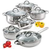 Cook N Home 00250 12-Piece Stainless Steel Cookware Set Silver