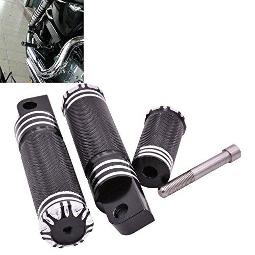 NATGIC Motorrad CNC Aluminium schwarz Fußstütze Fußrasten + Schalthebel für Harley Sportster XL 1200 883 Custom