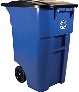 Rubbermaid Commercial FG9W2773BLUE Brute Heavy-Duty Rollout Waste/Utility Container, 50-Gallon with Recycling Logo, Blue