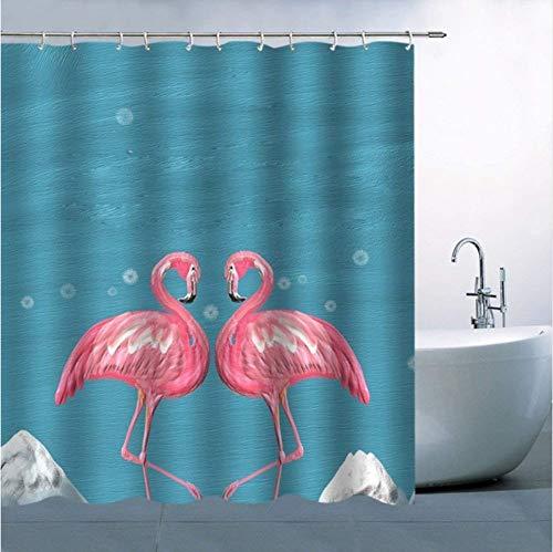 """72/"""" Mignon Oiseau Lapin Rose Rideau de douche Set de salle de bains Tissu Imperméable Crochets"""