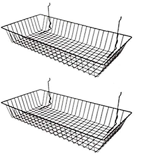 "Black Wire Baskets for Slatwall and Gridwall (Set of 2), Merchandiser Baskets, Perfect for Retailers or Home Use, Black Vinyl Coated Wire Baskets, 24"" L x 12"" D x 4"" H, Shallow Baskets"