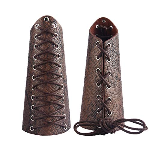 GelConnie Leather Gauntlet Wristband Medieval Bracers Snakeskin Viking Wrist Guards Archery Guards Bracers Wide Arm Armor Cuff for Women Men Halloween Renaissance Costume Props