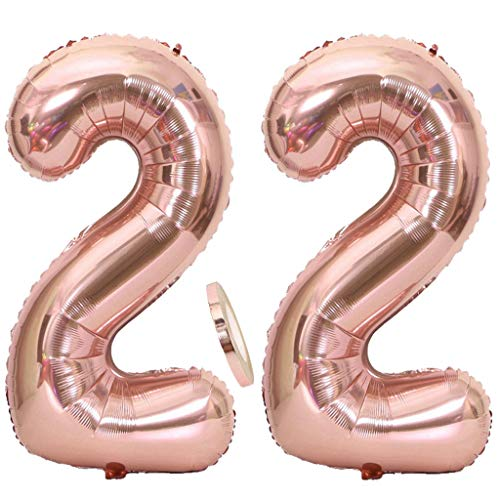 2 Globos Número 22 Oro Rosa, Ouceanwin Gigante Foil Globos Numeros 22 Grande Globo de Papel de Alumini, 40