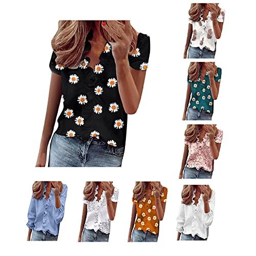 Blusen Damen Sommer Elegant WeißEs Sport Tshirt Damen Bluse RüSchen Business Bluse Damen Wei dirndl mit bluse und schürze (Blue 3,XXL)