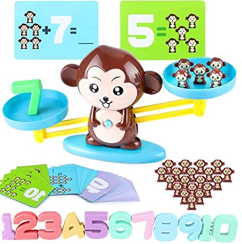 Pulchram Mathe Waage Spielzeug,Affen Balance Spielzeug, Zählen und Rechnen,Geschicklichkeit Spielzeug,Lernspielzeug mit Cartoon-Zählkarte,Geschenk für Kinder 5 Jahhre Alt