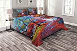 Ambesonne Country Bedspread, Colorful Fairy Paint of Park in Fall View of The Earth in Oil Painting Style Print, Decorative Quilted 3 Piece Coverlet Set with 2 Pillow Shams, King Size, Blue Orange