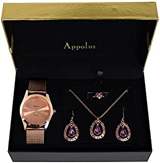 Gifts For Women Mom Wife Girlfriend Christmas Birthday Anniversary Gift - Appolus Watch Necklace Earrings Set Cubic Zirconia Silver (RoseGold)