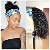 Glueless Curly Headband Wig Human Hair for Black Women None Lace Front Wigs Brazilian Deep Curly Half Wigs for Black Women (16 inch)