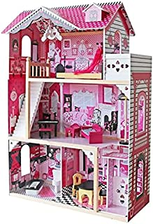 KIDSAVIA - Wooden Dolls House with LED Lights 3 Floors - Dream House Cottage with Furniture Accessories 3 Storey Play Set ...