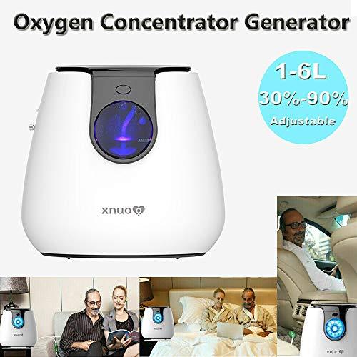 Mbuynow Portátil Concentrador de Oxígeno, Purificador de Aire Doméstico de La Máquina de Oxígeno con Humidificador 1-6L / min para Hogar Hospital el Coche y Viaje