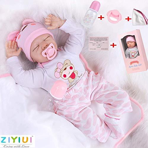 ZIYIUI Doll 22 Pulgadas 55 cm Muñecos Bebé Realista Reborn Bebé Muñeca Silicona Suave Simulación de Vinilo Realista Lindo Recién Nacido Bebé Juguete 3+ años de Edad