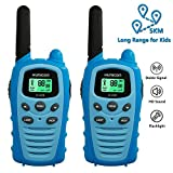 Kids Walkie Talkies Long Range 5km for Boys & Girls Toys Radios Pure Blue with Flashlight LCD Backit VOX 22 Channels