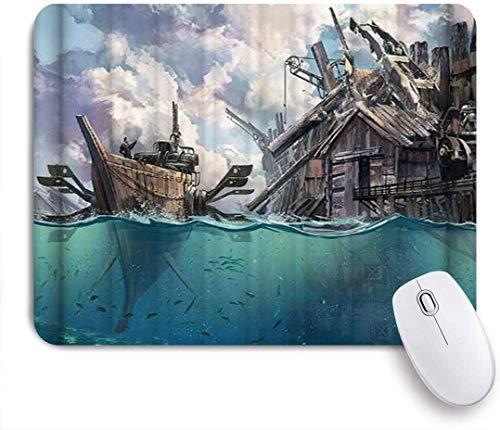 Mauspad cartoon boot blue sea holzhaus customized art mousepad rutschfeste gummibasis für computer laptop schreibtisch schreibtischzubehör