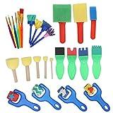 Esponjas de pintura para niños, kits de pinceles de pintura de esponja, juego de pinceles ligeros y reutilizables, kit de sellos de esponja para niños, suministros de arte, manualidades,