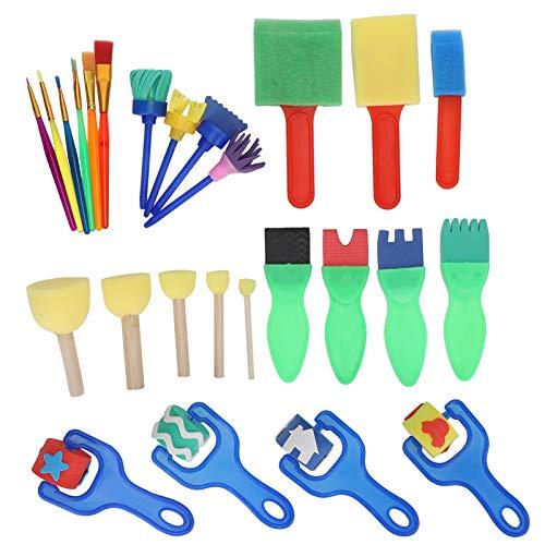 Juego de pinceles para pintar para niños, kits de pinceles de esponja, 26 piezas, ligeros y reutilizables para niños, suministros de arte para manualidades, regalos para niños pequeños