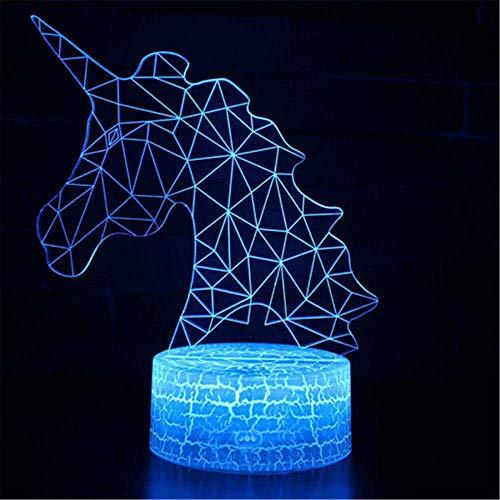 Lámpara de ilusión 3D 3D Luz nocturna Unicornio 16 colores cambiantes acrílico LED noche luz para niños y niñas como en cumpleaños o días festivos, sistema solar regalo