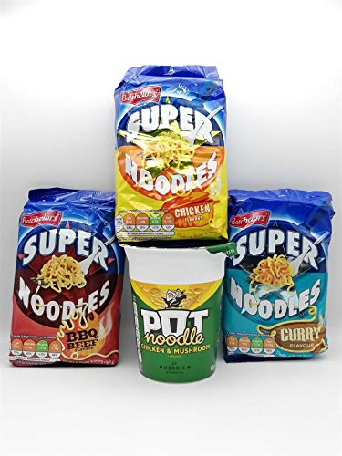 Instant Super Noodles KIT, Chicken Curry, Barbecue Beef, Mushroom, 90g Each Bag, Tasty Snack Perfect Quick Meal for Lunch or Dinner Convenient Multipack Noodles