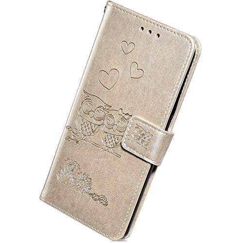 Herbests Compatible with Huawei P Smart 2018 Leather Flip Wallet Case Retro Vintage Owl Love Heart Floral Pattern Protective Phone Case Credit Cards Slots Kickstand Magnetic,Gold