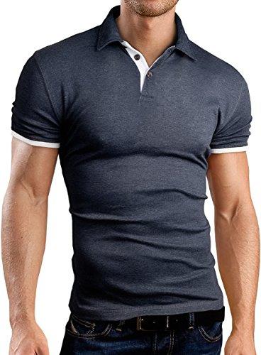 Grin&Bear Slim Fit Kontrast Polohemd Poloshirt Polo, Grau, L, GB160