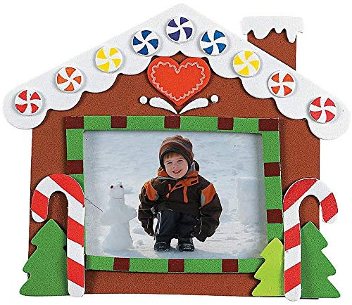 4E's Novelty Christmas Picture Frame Crafts Kit for Kids (12 Pack) Gingerbread House Arts & Crafts, Fun Holiday DIY Project Party Activities, Christmas Party Favors