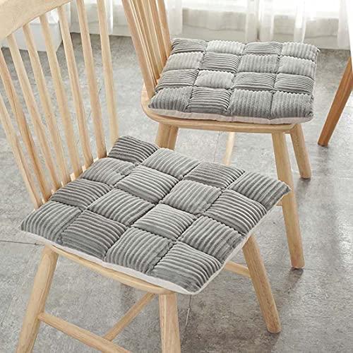 Juego de 4/6 cojines de asiento para sillas de comedor, cojines de silla de 42 x 42 cm, cojines de asiento de silla para interiores y exteriores, 4 unidades, color gris
