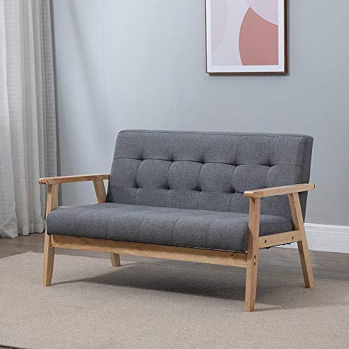 Retro Tufted 2-Seater Accent Lounge Sofa Couch Wooden, Linen Fabric Armchair Tub Occasional Chair for Living Room Reception Bedroom Balcony Comfortable Padded Seat Dark Grey