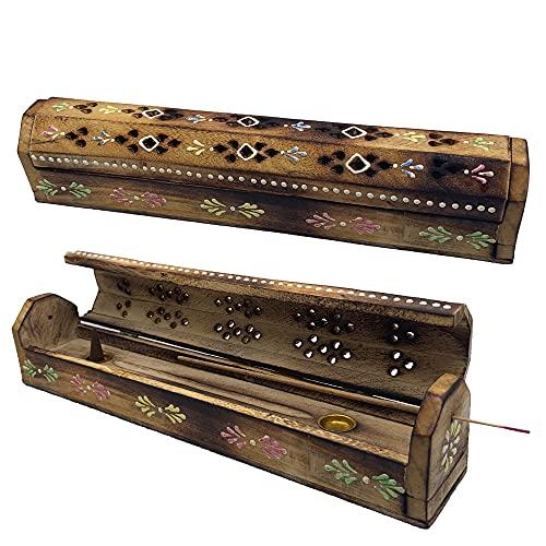 Quemador Incienso (incensario) Caja de Madera Decorada a Mano en India - Exclusivo diseño de Flores...