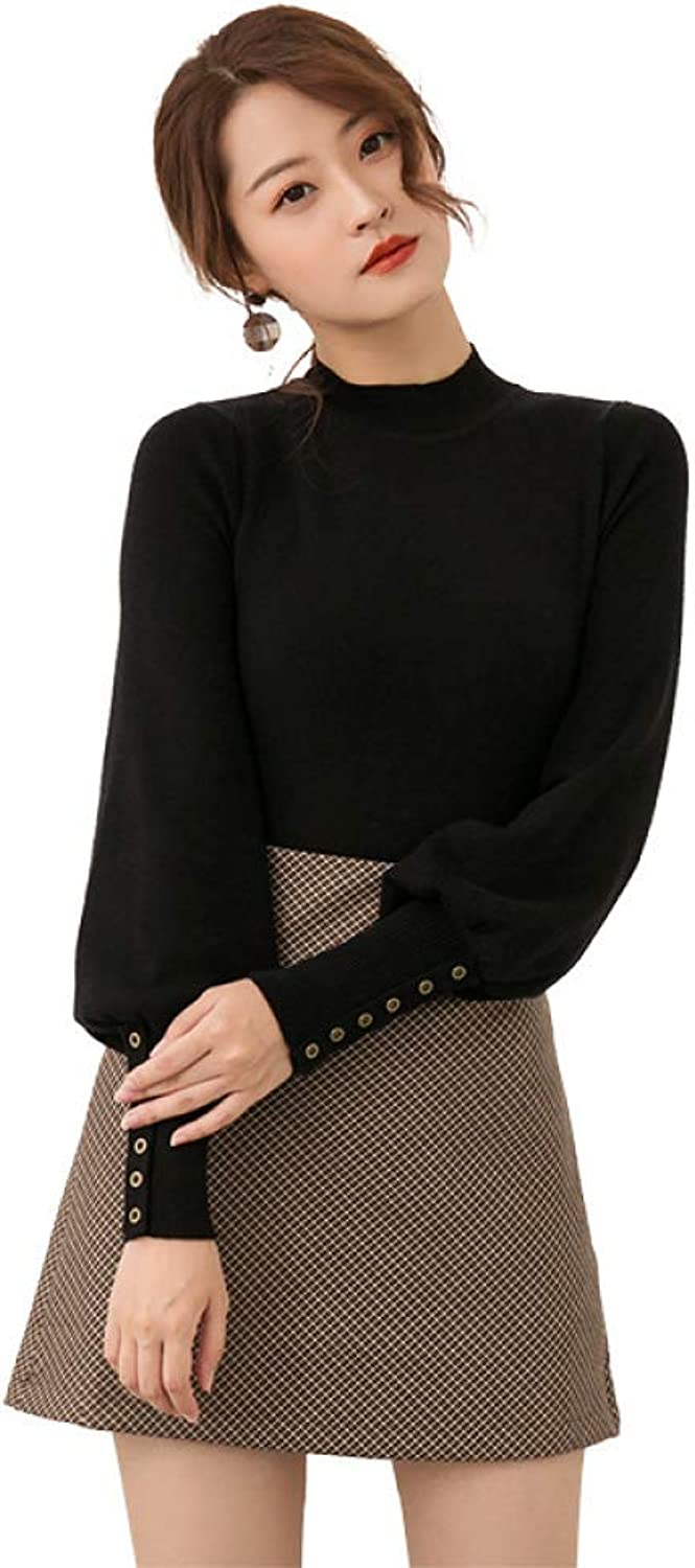 QJKai Autumn and Winter Women's Sweaters Solid color Slim Slimming Shirt Lantern Sleeve Sweater