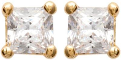 ISADY - Miranda Gold - Boucles d'oreille - Clous d'oreilles - 4 mm - Argent fin 925/1000 et Plaqué Or jaune 585/1000 - Oxyde de zirconium transparent