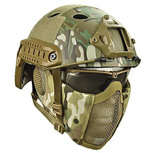 QZY Airsoft Paintball Schutzhelm, Taktische Helme mit Stahlgitter Maske CS Spiel Set 8 Farbe,CP