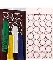 Improvhome 28 Slots Scarf/Dupatta Hanger Organiser (Multicolour, 72 x 36 cm) Multi Purpose 28 Rings Foldable Hanger for Ties, Scarfs, Belts