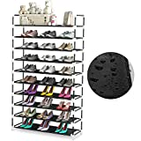 10 Tiers Shoe Rack - Fit Up to 50 Pairs - QooWare PP Plastic Shoe Storage Organizer Shelves for Closet, Entryway, Garage - Space Saving Shoe Shelf - Stackable Freestanding for Room Organization