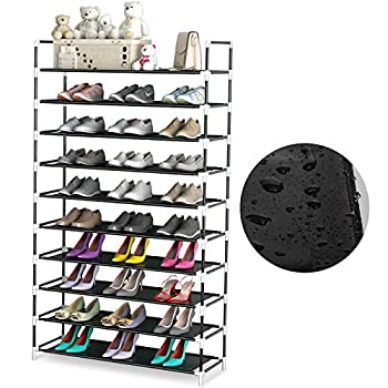 10 Tiers Shoe Rack - Fit Up to 50 Pairs - QooWare PP Plastic Shoe Storage Organizer Shelves for Closet Entryway Garage - Space Saving Shoe Shelf - Stackable Freestanding for Room Organization