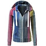 Sudadera con capucha para mujer, fina, elegante, a rayas, estrecha, estilo universitario, cordón, sudadera deportiva con capucha, chaqueta ligera, relajada, primavera y otoño, Multicolor, XL