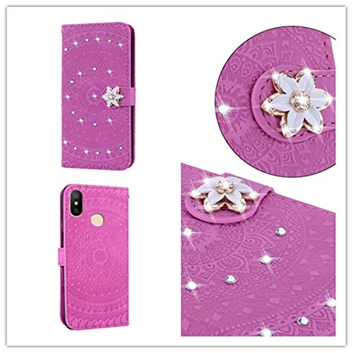ZAORUN Cellphone Protective Case Covers Compatible for Xiaomi Redmi 6a Pressed Printing Sticking Drill Pattern Horizontal Flip PU Leather Case with Holder & Card Slots & Wallet && Lanyard