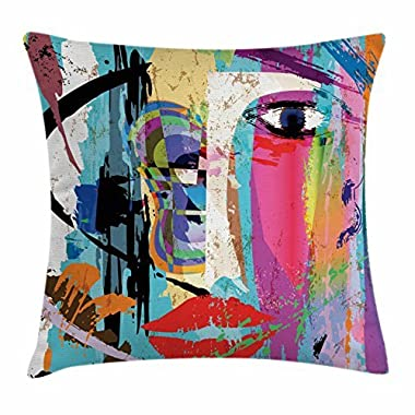 Ambesonne Abstract Throw Pillow Cushion Cover, Woman Face Art Composition with Paint Strokes and Splashes Eye Red Lips Grungy, Decorative Square Accent Pillow Case, 18 X 18 Inches, Multicolor