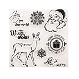 3.9 by 3.9 Inches Santa Claus Happy New Year Letters Christmas Deer Snow Flower Rubber Stamps for Scrapbooking Card Making Christmas Decors