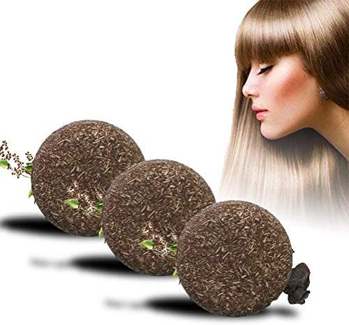 3PCS Natural Organic Grey Hair Reverse Shampoo-Riegel, Shampoo-Riegel zur Verdunkelung der Haare, Fleeceflower Root, Reparatur von trockenem, geschädigtem Haar gegen Haarausfall