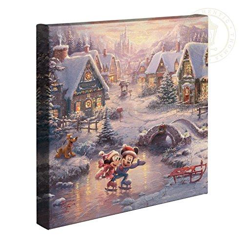 Thomas Kinkade Studios Mickey and Minnie Sweetheart Holiday 14 x 14 Gallery Wrapped Canvas