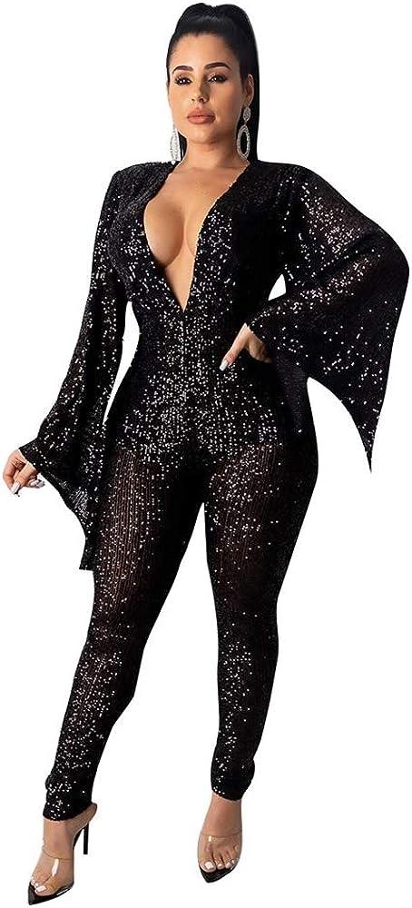 Blansdi Women Glitter Sequins Jumpsuits Long Sl New life
