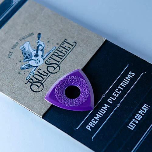 Bog Street BATTLE AXE Guitar Picks, Medium, 3-Sided Ergonomic 2mm Guitar Picks, Purple (12-Pack)