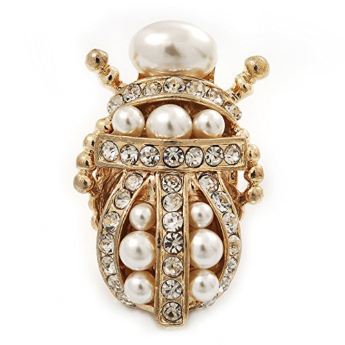 Avalaya Clear Crystal/Simulated Pearl Egyptian 'Scarab' Beetle Brooch in Gold Plating - 4.5cm Length