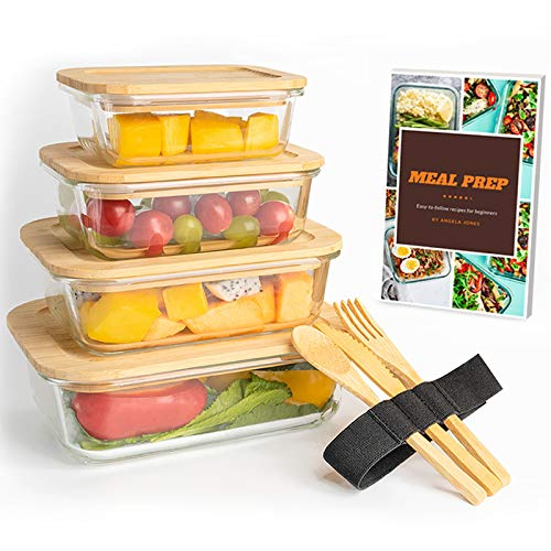 JOSKEL Glass Food Container Set - 4 Food Storage Containers with Bamboo Wood Lids, Set of Wooden Cutlery and Ebook -Plastic-Free, Heat and Cold Resistant Glass Locking Meal Prep/Lunch Bowls with Lid