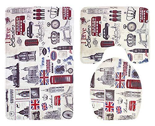 SonMo 3-Teiliges Badezimmerteppich-Set Badematte Wc-Abdeckung Duschmatte Badvorleger Polyester Anti-Bakteriell Anti-Schimmel Stammes-Fraulondon View Grau