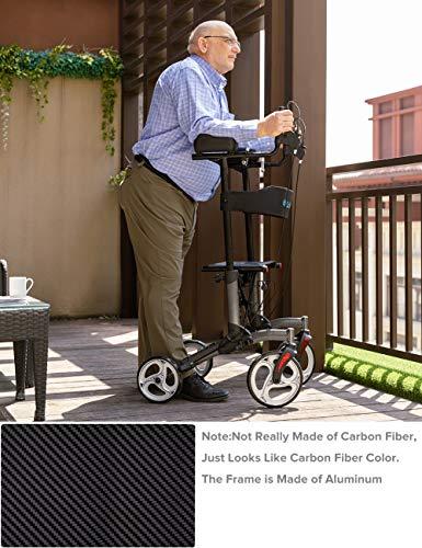 ELENKER Upright Walker, Stand Up Folding Rollator Walker with 10†Front Wheels, Padded Armrests, Seat and Backrest for Seniors and Adults, Color: Carbon Fiber Black